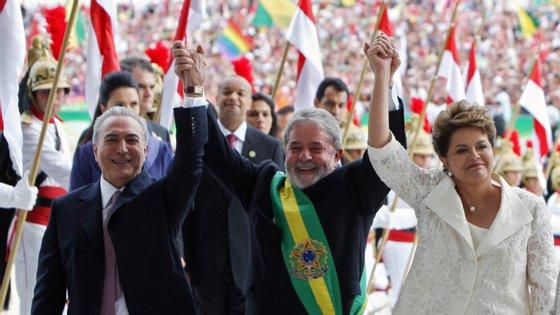 Michel Temer, Lula da Silva e Dilma Rousseff na inauguração do Palácio do Planalto, em janeiro de 2011
