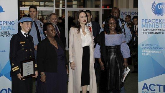 A atriz falava diante de ministros e de outros representantes de todo o mundo que participavam em Nova Iorque numa conferência sobre as operações de manutenção de paz da ONU