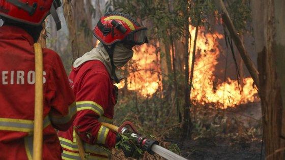 Mais de 70 operacionais apoiados por 23 viaturas e quatro aviões combatem o incêndio