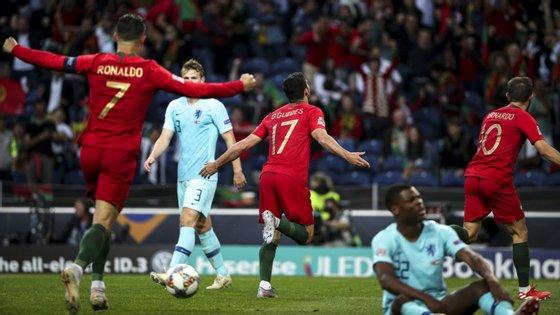 Gonçalo Guedes marcou o golo da vitória de Portugal na final. FILIPE AMORIM/OBSERVADOR