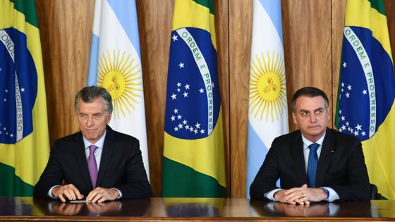 Mauricio Macri, presidente da Argentina, e Jair Bolsonaro, presidente do Brasil