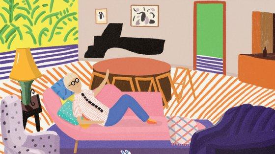 David Hockney começa por se deitar no divã para pensar porque é que fazemos imagens.