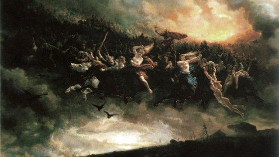 """""""A Caçada Selvagem: Asgårdsreien"""" (1872), do pintor norueguês Peter Nicolai Arbo"""