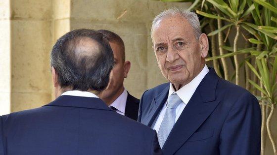 O PR do governo libanês Nabih Berri, em Beirute