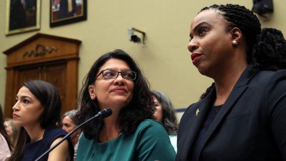 Alexandra Ocasio-Cortez, Rashida Tlaib e Ayanna Pressley foram eleitas para o congresso em 2018