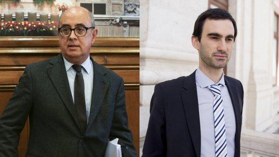 Azeredo Lopes, ex-ministro da Defesa (à esquerda) e o deputado Tiago Barbosa Ribeiro (à direita)