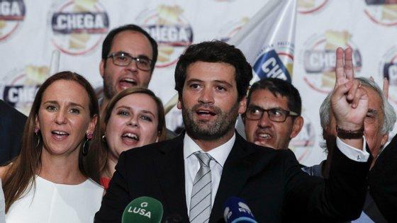 André Ventura enquanto fazia o discurso final, depois de ter eleito um deputado