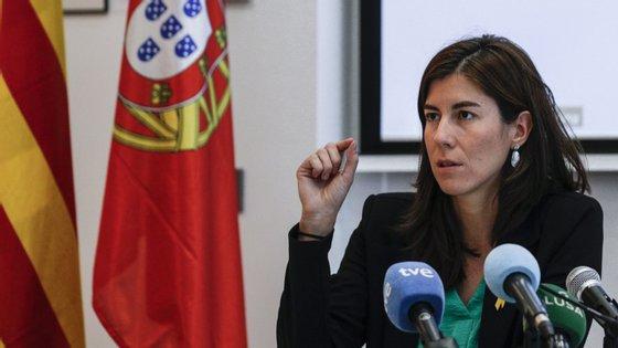 Mireia Borrel falou à imprensa, portugesa e espahola, em Lisboa