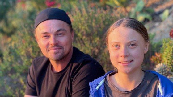 Na sua conta de Instagram, DiCaprio publicou fotografias do encontro dos dois ativistas ambientais