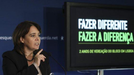 Catarina Martins discursou esta quinta-feira à noite na sessão promovida pelo BE no Fórum Lisboa, para assinalar os dois anos de mandato autárquico em Lisboa