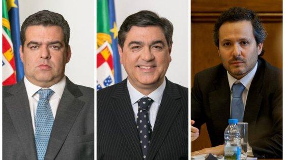 Os ex-secretários de Estado Fernando Rocha Andrade e Jorge Oliveira (à esquerda e ao centro) e Carlos Costa Pina, administrador da Galp (à direita)