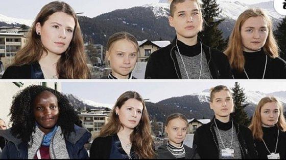 Vanessa Nakate (no canto inferior esquerdo) posou com outras quatro ativistas pelo clima, incluindo a sueca Greta Thunberg, para uma fotografia em Davos, na Suíça