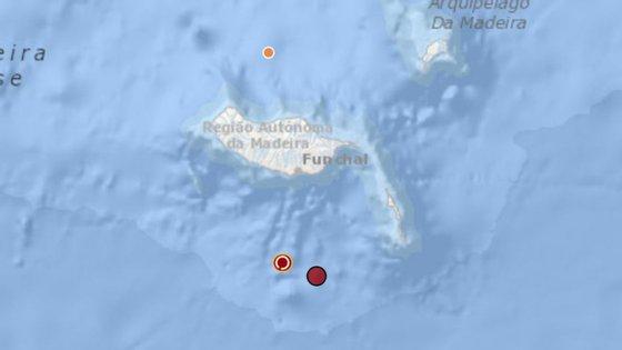 Um esquema da localização do sismo disponibilizado pelo IPMA
