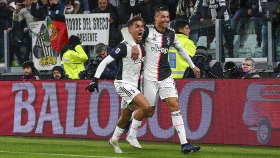 Dybala e Ronaldo são dois dos jogadores com mais golos esta época na Juventus, a par do também argentino Gonzalo Huguaín