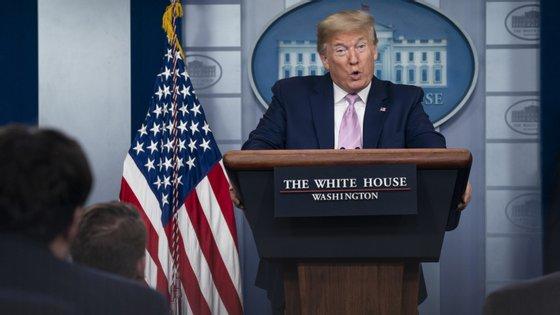 Donald Trump falou este sábado numa conferência de imprensa na Casa Branca