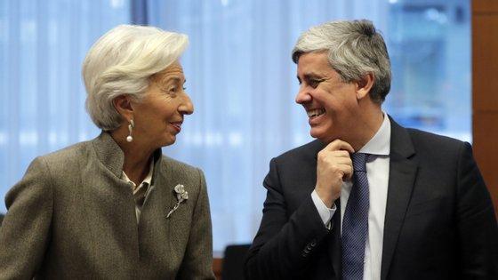 Christine Lagarde, presidente do BCE, e Mário Centeno, presidente do Eurogrupo.