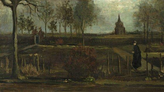 """A pintura, """"O Jardim do Presbitério de Neunen com Figura Feminina"""", terá sido executada em 1884, no arranque da carreira de pintor de van Gogh, quando este vivia em Neunen"""