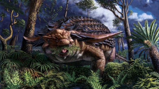 Esta espécie tinha uma armadura com espinhos nas costas, que também foi fossilizada