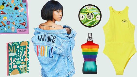 """Da esquerda para a direita, no sentido dos ponteiros do relógio: """"O Lenço de Júlia"""", coleção Pride da Levi's, hidratante corporal The Body Shop, fato de banho Women + Waves x H&M, perfume Le Male Pride e caderno Bulhufas"""