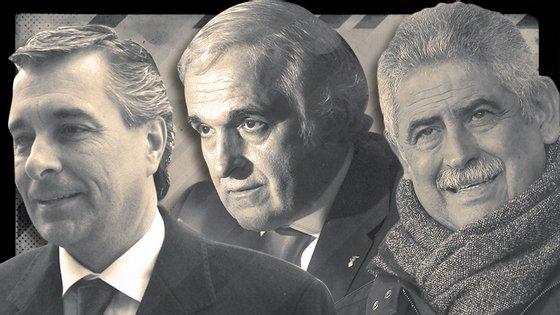 José Veiga (à esquerda), Rui Rangel (ao centro) e Luís Filipe Vieira (à direita) são arguidos da Operação Lex