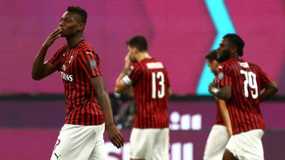 O jogador português entrou já na segunda parte e ainda foi a tempo de marcar o terceiro golo da equipa de Stefano Pioli