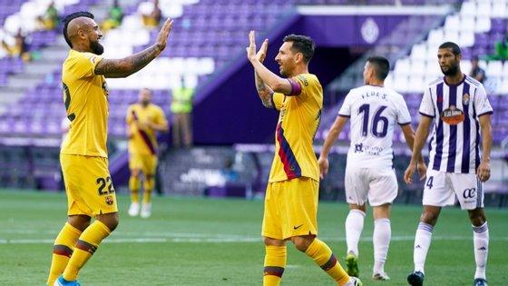 Messi assistiu Vidal para o único golo do jogo e igualou as 20 assistências de Xavi em 2008/09 (além de ser o melhor marcador da Liga)