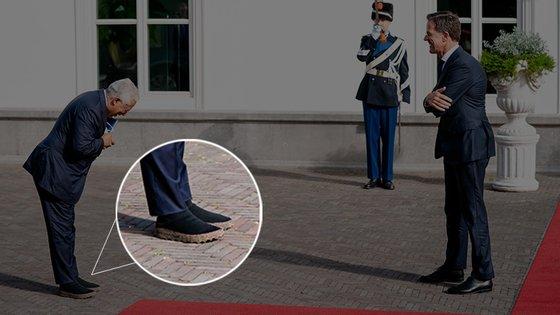 António Costa foi recebido pelo primeiro-ministro holandês e surpreendeu pela escolha dos sapatos