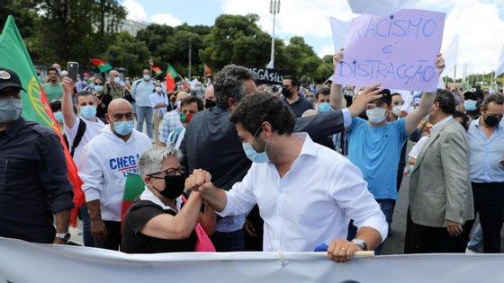 Maria Vieira participou na manifestação organizada pelo Chega que decorreu em Lisboa no final de junho e desfilou na primeira fila, junto a André Ventura