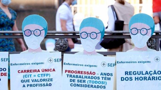 O SEP organizou, na terça-feira, uma manifestação pública com apenas os dirigentes para chamar a atenção para os problemas laborais que continuam a afetar os enfermeiros e que foram expressos à comunicação social e em faixas colocadas no gradeamento do hospital de Bragança