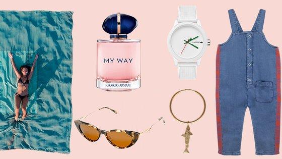 Da esquerda para a direita, no sentido dos ponteiros do relógio: toalha DCK x Futah, perfume Giorgio Armani, relógio Lacoste, jardineiras Knot x Hey Soleil, brinco +351 e óculos Amália Eyewear