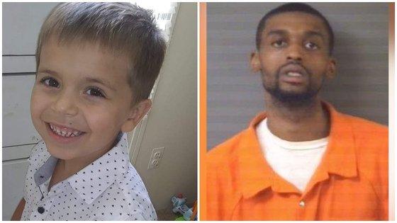 Darrius Sessoms (25 anos, à direita) é o único suspeito da morte de Cannon Hinnant (5 anos, à esquerda), que foi morto com um tiro na cabeça