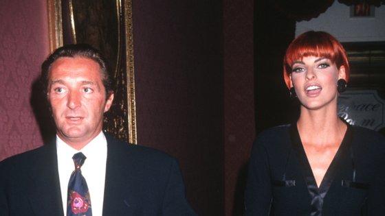 Gerald Marie e a ex-mulher Linda Evangelista num evento em 1991. O casal divorciou-se em 1993