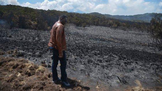 """O fogo espalhou-se, tornando-se mais difícil controlar as chamas, disse Kigwangalla, acrescentando que """"o desafio é o vento forte, o prado seco e o mato"""""""