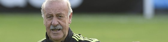 Spain's coach Vicente Del Bosque gives instructions during a training session on June 9, 2014, at CT do Caju in Curitiba prior to the start of the 2014 FIFA World Cup.  AFP PHOTO/ LLUIS GENE