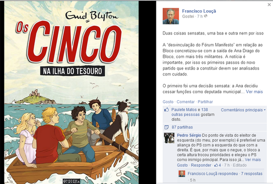 Louçã FB sobre forum manifesto e ana drago