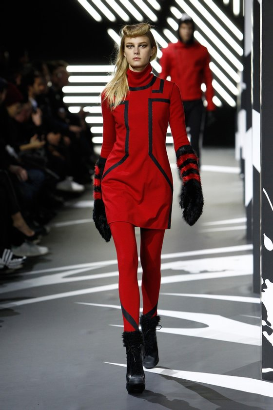A model walks the runway during the Y-3 Menswear Fall/Winter 2014-2015 Show as part of Paris Fashion Week on January 19, 2014 in Paris, France.