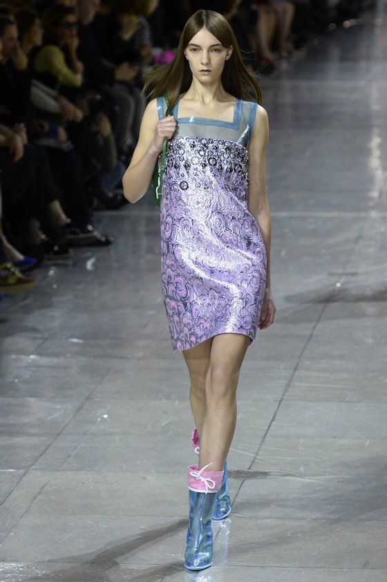 A model presents a creation for Miu Miu during the 2014/2015 Autumn/Winter ready-to-wear collection fashion show, on March 5, 2014 in Paris. AFP PHOTO / BERTRAND GUAY        (Photo credit should read BERTRAND GUAY/AFP/Getty Images)