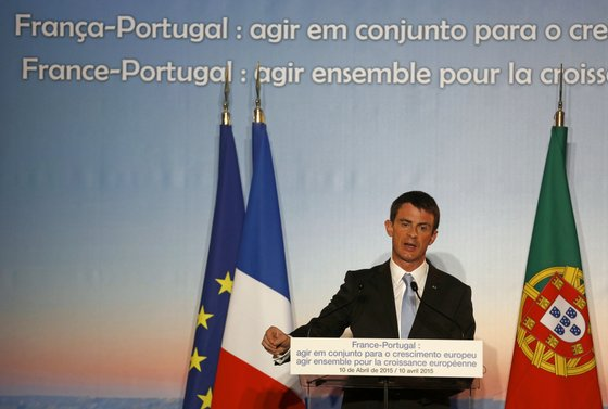 """French Prime Minister Manuel Valls speaks at the bilateral economic conference, """"Act Together for European Growth"""" at the Centro Cultural de Belem in Lisbon on April 10, 2015. AFP PHOTO/ JOSE MANUEL RIBEIRO        (Photo credit should read JOSE MANUEL RIBEIRO/AFP/Getty Images)"""