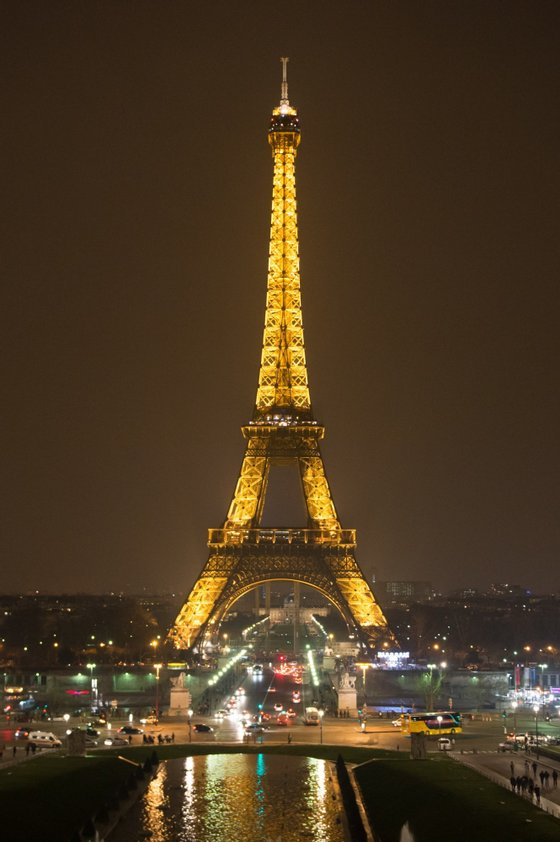 The Eiffel tower is seen while submerging into darkness at 8:30 pm (local time) as part of the Earth Hour switch-off on March 23, 2013 in Paris. Organisers expect hundreds of millions of people across more than 150 countries to turn off their lights for 60 minutes on Saturday night -- at 8:30 pm local time -- in a symbolic show of support for the planet. While more than 150 countries joined in last year's event, the movement has spread even further afield this year, with Palestine, Tunisia, Suriname and Rwanda among a host of newcomers pledging to take part. AFP PHOTO BERTRAND LANGLOIS (Photo credit should read BERTRAND LANGLOIS/AFP/Getty Images)