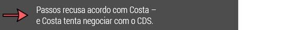 Passos recusa acordo com Costa - E Costa tenta negociar com o CDS