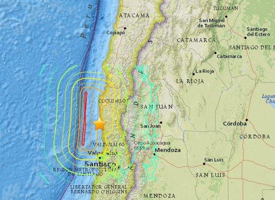 Mapa de localização do sismo de acordo com o Serviço Geológico dos Estados Unidos (USGS)
