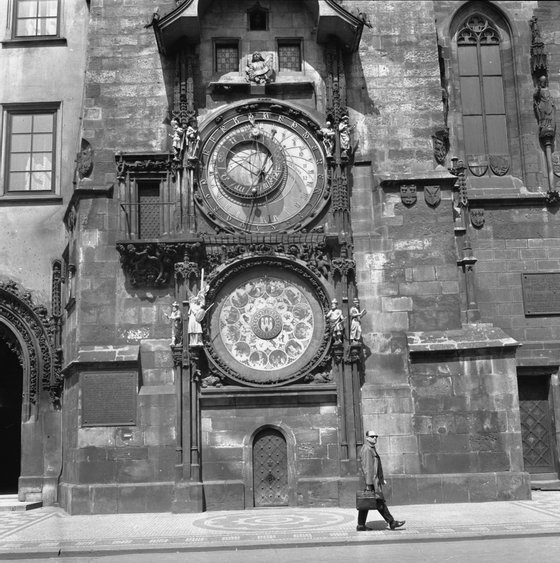 July 1966: The 15th century Orloj Astronomical Clock attached to the Town Hall tower in Prague. It consists of two parts: the upper part shows the apparent movements of the sun and moon and the time of day; the lower part shows the days of the week and the months of the year. (Photo by John Pratt/Keystone Features/Getty Images)