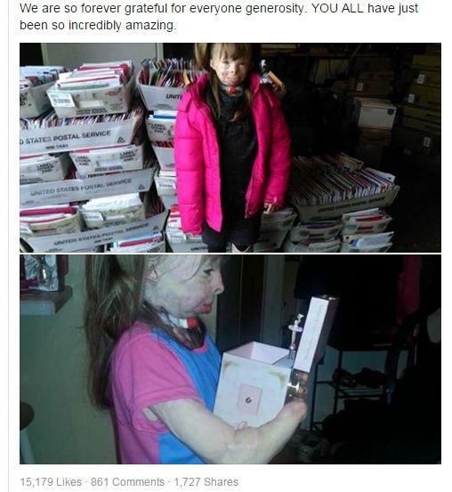 meninda queimada recebe milhares de postais