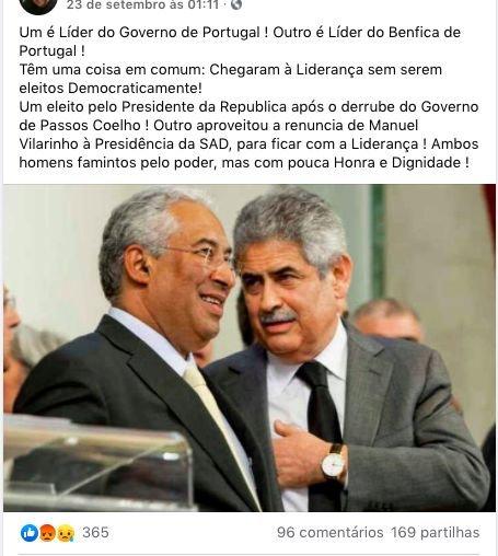 Imagem viral acusa António Costa e Luís Filipe Vieira de não terem sido eleitos democraticamente