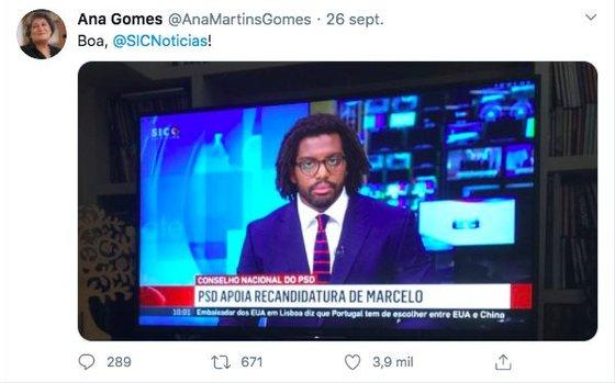 Tweet verdadeiro da antiga eurodeputada
