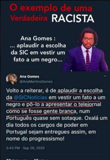 Publicação que atribui um tweet falso a Ana Gomes.