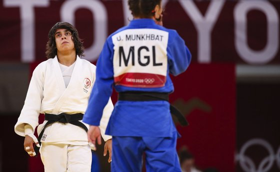 A judoca Catarina Costa reage após terminar no quinto lugar na categoria de -48 kg nos Jogos Olímpicos de Tóquio2020, ao perder no combate para a atribuição da medalha de bronze com a mongol Urantsetseg Munkhbat, na arena Nippon Budokan, Tóquio, Japão, 24 de julho de 2021. JOSÉ COELHO/LUSA
