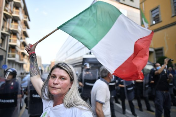 No Vax and Free Vax Demonstrators Protest At Introduction Of Italy's Green Pass