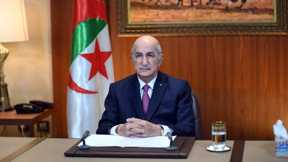 epa09022390 A handout photo made available by the Algeria Presidency Press Service shows Algerian President Abdelmadjid Tebboune during his speech at the Presidential Palace in Algiers, Algeria, 18 February 2021. Algerian President Abdelmadjid Tebboune announced, in a speech on television on 18 February, the dissolution of the current National People's Assembly (APN) and the organization of early legislative elections.  EPA/ALGERIA PRESIDENCY PRESS SERVICE / HANDOUT  HANDOUT EDITORIAL USE ONLY/NO SALES